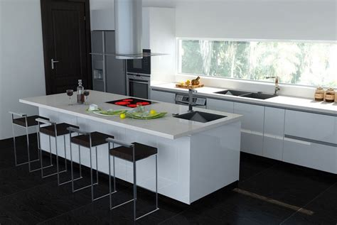 Agréable Idee Deco Credence Cuisine #8: Plan-travail-cuisine-tabourets-haauts-carrelage-noir-hotte-design.jpg