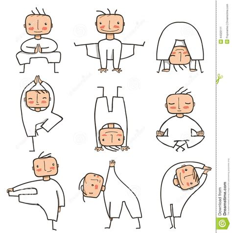 comic yoga man collection stock vector image