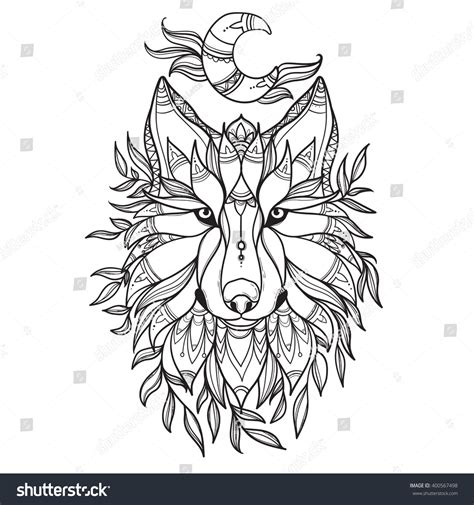 tribal wolf coloring page wolf tribal style moon leafsdetail zentangle stock vector