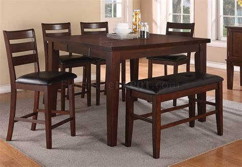 walnut 5 piece counter height dining room set 1549 monarch f2208 dining set counter height 5pc walnut by poundex w