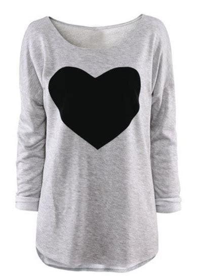 Longsleevetop Whitegrey 15325 light grey neck sleeve print t shirt sheinside