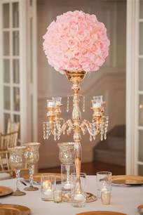 pink decorations for weddings gold candelabra pink wedding reception centerpiece