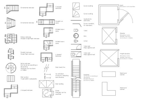 floor plan stairs symbols design elements building core fire and emergency plans