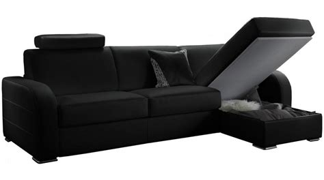 photos canap 233 d angle convertible noir pas cher