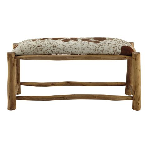 bench w alpin mango wood and goatskin bench w 100cm maisons du monde
