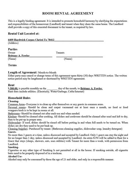 Agreement Letter For Renting A Room 39 simple room rental agreement templates template archive