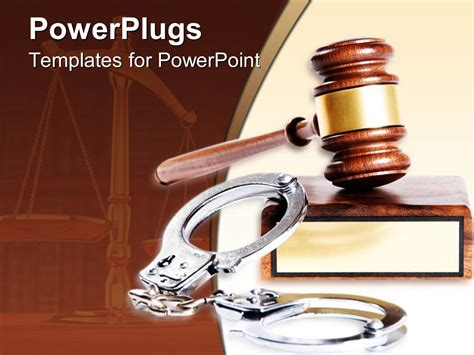 Powerpoint Template Metal Handcuffs Next To Wooden Gavel And Block 18448 Criminal Justice Powerpoint Templates