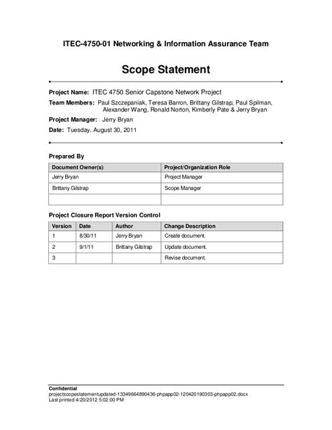 scope document template project scope statement