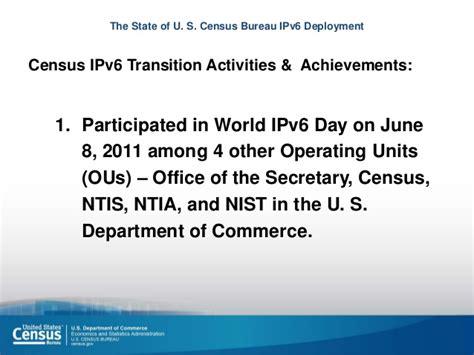 bureau of the census the state of u s census bureau ipv6 deployment a