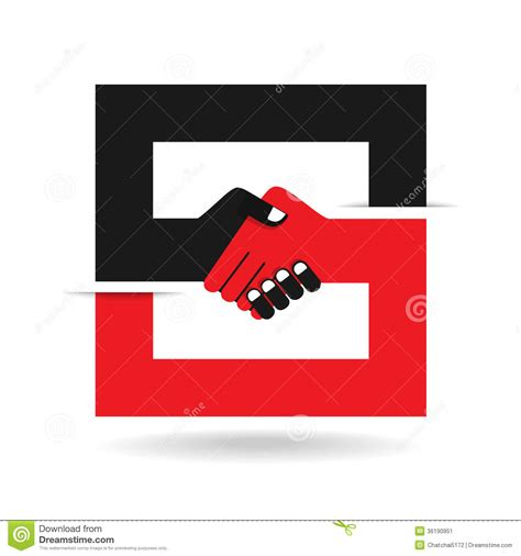 handshake abstract sign design template business stock vector image