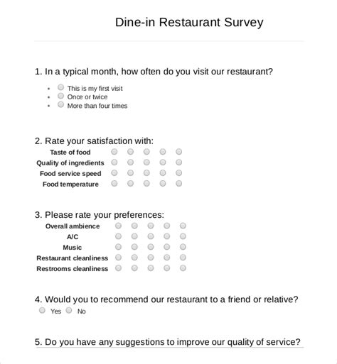 restaurant questionnaire template 13 restaurant survey templates free sle exle
