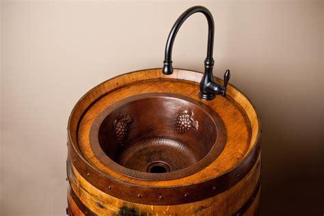 Wine Barrel Vanity With Hammered Copper Sink by Wine Barrel Vanity With Hammered Copper Bar Sink