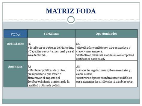 matriz foda presentacion an 225 lisis financiero de la empresa fadepro c a