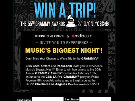 Cbs Grammy Sweepstakes - cbs 55th annual grammy awards giveaway