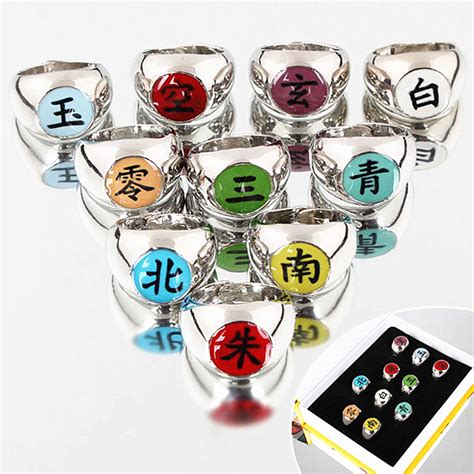 Ring Akatsuki Set 10pcs set akatsuki alloy ring set pein uchiha itachi ring figures japanese anime