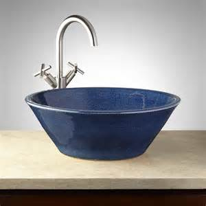 pottery bathroom sinks hartwick glazed pottery vessel sink blue