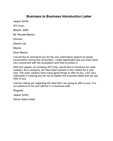 Introduction Letter Format For Printing Business business to business introduction letter sle edit fill sign handypdf