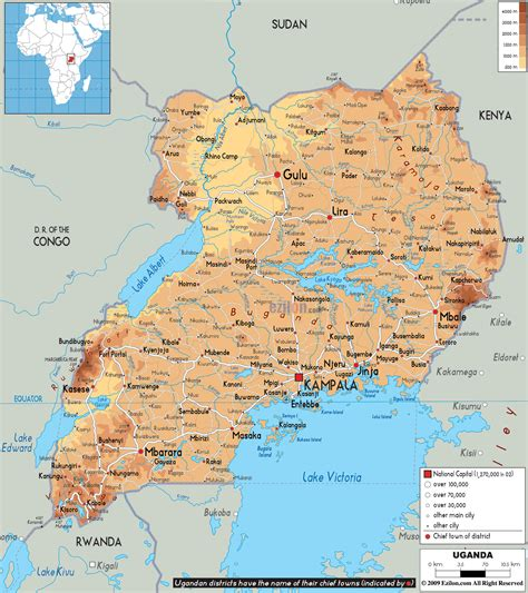 map of uganda physical map of uganda ezilon maps
