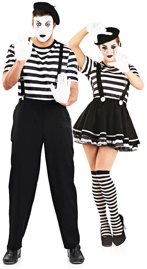 Hh 920592couple Costume Black mime artist beret adults fancy dress circus clown mens costumes ebay