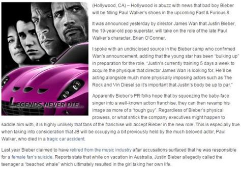 fast and furious 8 justin bieber fake justin bieber to replace paul walker for fast furious 8