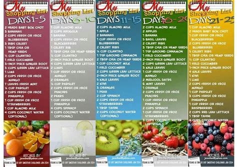 Green Smoothie Detox Shopping List by Juicing Shopping List 30 Day Challenge Juicing