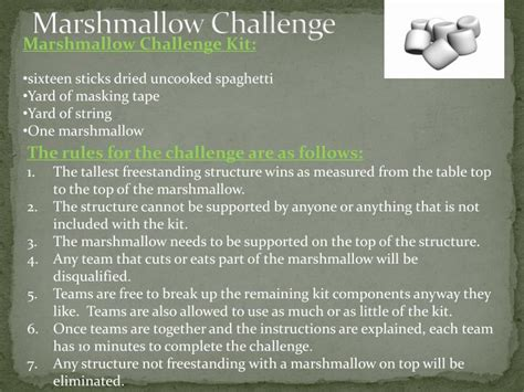 marshmallow challenge instructions ppt marshmallow challenge powerpoint presentation id