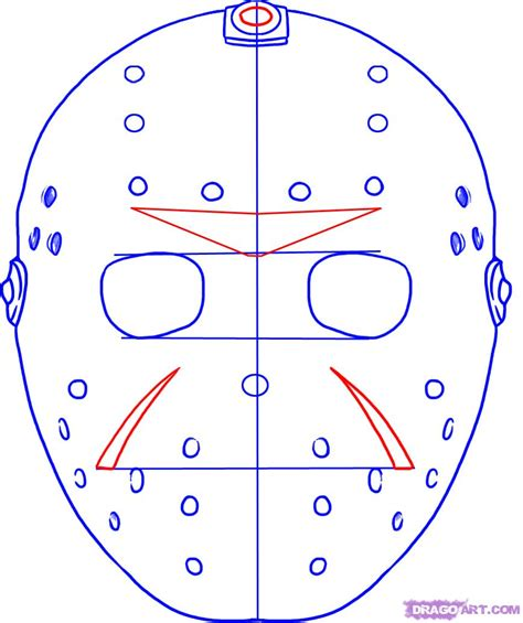 free printable jason mask how to draw jasons mask step by step movies pop culture