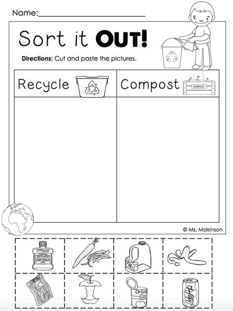 World Learners Activity Workbook 1 free earth day printables recycling and compost cut and paste this freebie at