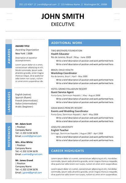 Resume Template Word Colour Executive Resume Template Trendy Resumes