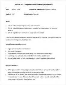 Behavior Plan Template For Elementary Students by Behavior Plan Template 3 Free Word Pdf Documents