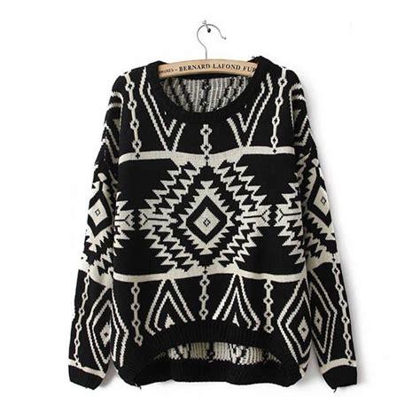 aztec pattern jumper black aztec sweater knit knitted jumper oversized oversize