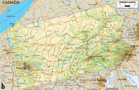 map of penn physical map of pennsylvania ezilon maps