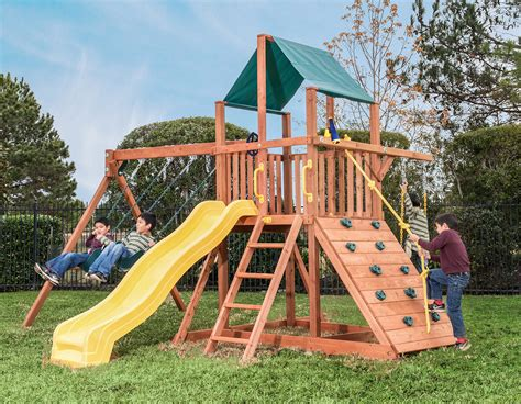swing set base orangutan fort w green tarp option swing set treefrogs