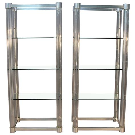 Glass Shelf Etagere by Amazing Pair Of Lucite And Chrome Glass Shelf Etageres For