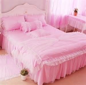 Pinky bedrooms pink room princess beds pink bedding set bed skirts