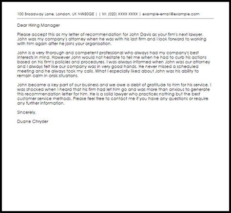 Lawyer Recommendation Letter   Recommendation Letters