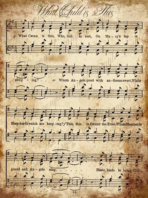 christmas carol printable grungy aged vintage christmas carol music digital sheet