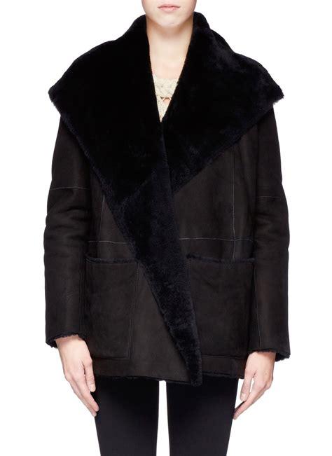 shearling drape coat vince shearling draped collar coat in black lyst