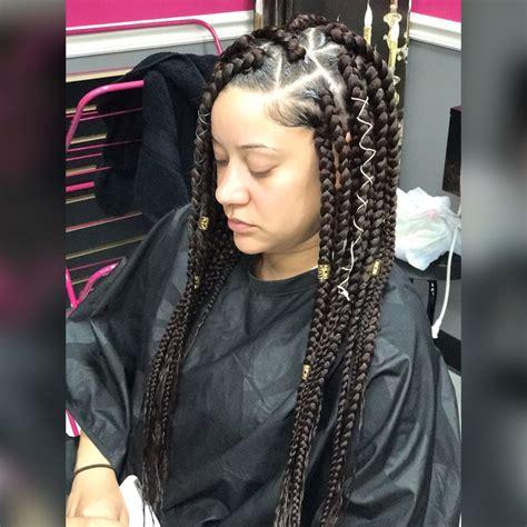parting hair when braiding a ball best 20 jumbo braids hairstyles ideas on pinterest