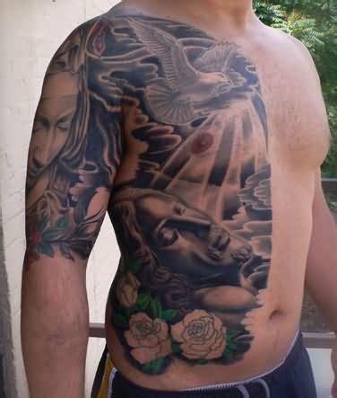 full body religious tattoo jesus light tattoo on body