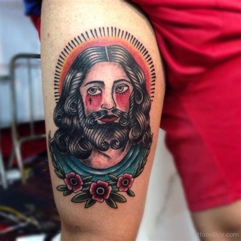 jesus tattoo on his thigh christian tattoos tattoo designs tattoo pictures page 30