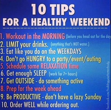 10 Tips On How To An by 10 Tips For How To Stay On Track For A Healthy Weekend