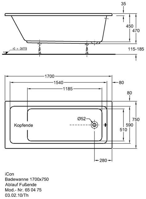 badewannen abmessungen keramag icon badewanne 170 x 75 cm 650475000 megabad