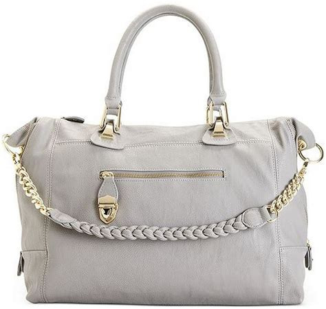 Steve Madden Purse by Steve Madden Grey Bsociall Satchel Shoulder Tote Handbag W Gold Zipper Trim New Ebay