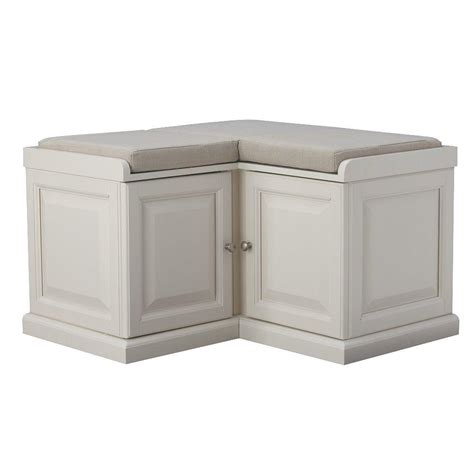 Corner Bench With Storage Home Decorators Collection Walker White Storage Bench 7400600410 The Home Depot