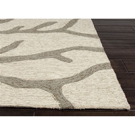 Indoor Area Rug Jaipurliving Coastal Lagoon Ivory Grey Indoor Outdoor Area Rug Reviews Wayfair
