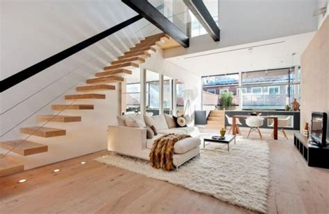 Suspended Style 32 Floating Staircase Ideas For The New York 2 Bedroom Duplex Apartment Living Room Ny
