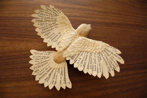 book paper and wood robin sculpture paper wood