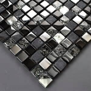 Ceramic Wall Tile Murals tst glass stone tiles black dark grey squared grid marble