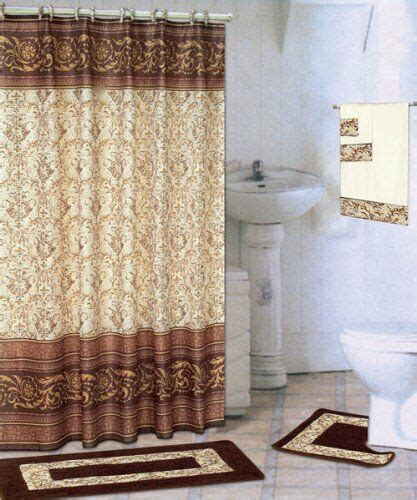 18 bath rug set scroll coffee brown bathroom shower